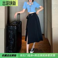 skirt Summer 2020 M,L,XL,2XL,3XL,4XL black longuette Versatile High waist Irregular Solid color other Lace up, asymmetric, button, zipper, side split