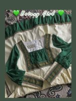 Dress Autumn 2020 Dark green, dark green pre-sale S, M longuette singleton  Long sleeves commute square neck High waist Solid color Socket A-line skirt bishop sleeve Others 18-24 years old Type X court Bowknot, embroidery, lace up, stitching, zipper Ancient works of Vintage Photography other hemp