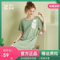 Nightdress Top melon 160(M),165(L),170(XL) Simplicity Short sleeve pajamas Short skirt summer Cartoon animation youth Crew neck cotton printing More than 95% Knitted cotton fabric 200g and below