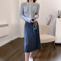 skirt Autumn 2021 Average size blue Mid length dress Retro High waist A-line skirt Solid color Type A 18-24 years old