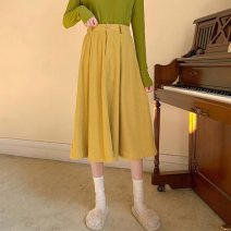 skirt Winter 2021 S, M yellow Mid length dress Retro High waist A-line skirt Solid color Type A 18-24 years old 91% (inclusive) - 95% (inclusive) Button