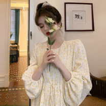 Dress Autumn 2021 Broken flowers S,M,L Mid length dress singleton  Long sleeves commute Crew neck Loose waist Broken flowers Socket A-line skirt bishop sleeve 18-24 years old Retro Lace up, bandage, print