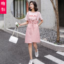 Dress Summer 2021 Pink bean green S M L XL Mid length dress Two piece set Short sleeve commute Crew neck Loose waist Solid color Socket A-line skirt routine straps 18-24 years old Type A Kiss Heng Korean version Pocket lace up button print WH2021031202 More than 95% other Other 100%