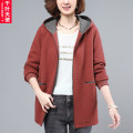 Middle aged and old women's wear Spring 2021 Magenta Brick Red Navy commute Jacket / jacket easy singleton  Solid color 40-49 years old Cardigan moderate Hood Medium length (length 50-70cm) routine QYTS2021XH6099 Chiba angel pocket pure cotton Cotton 100% 96% and above Pure e-commerce (online only)