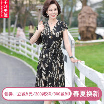 Middle aged and old women's wear Summer 2021 black L XL 2XL 3XL 4XL fashion Dress easy singleton  Decor 40-49 years old Socket thin V-neck Medium length routine QYTS2021YSM8840 Chiba angel Bandage polyester Polyester 100% 96% and above Pure e-commerce (online only) longuette Polyester