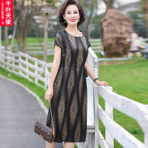 Middle aged and old women's wear Summer 2021 black L XL 2XL 3XL 4XL fashion Dress easy singleton  stripe 40-49 years old Socket thin Crew neck Medium length routine QYTS2021YSM8841 Chiba angel pocket polyester Polyester 100% 96% and above Pure e-commerce (online only) longuette Polyester