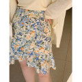 Women's large Summer 2020 Size 1 (about 115-130 kg), size 2 (about 130-145 kg), size 3 (about 145-160 kg), size 4 (about 160-175 kg), size 5 (about 175-190 kg) skirt singleton  moderate Flowers, flowers Charming Witch Middle-skirt Irregular skirt Lotus leaf edge