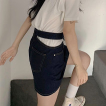 skirt Summer 2020 S,L,M Dark blue, dark blue pre-sale longuette A-line skirt Solid color 18-24 years old other Splicing