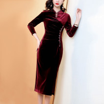 Dress Winter 2020 oxblood red S M L XL XXL 3XL 4XL 5XL longuette singleton  Long sleeves commute Crew neck middle-waisted Solid color zipper A-line skirt routine Others 30-34 years old JINKAIX Simplicity JKX2011123 More than 95% polyester fiber Polyester 95% polyurethane elastic fiber (spandex) 5%