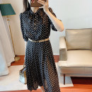 Dress Summer 2021 Black dots S,M,L,XL longuette singleton  Long sleeves commute stand collar middle-waisted Decor Socket A-line skirt routine Type A printing D498 Crepe de Chine silk