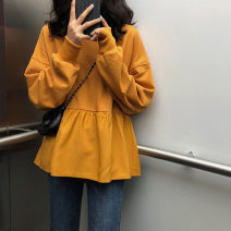 Sweater / sweater Autumn of 2019 Yellow blue white black M L XL XXL Long sleeves Medium length Socket Fake two pieces Thin money Crew neck easy commute routine Solid color 18-24 years old 96% and above Euphemistic love Korean version cotton cotton Cotton liner Pure e-commerce (online only)
