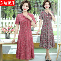 Middle aged and old women's wear Summer 2021 Color 1, color 2, color 3, color 4, color 5, color 6 fashion Dress Self cultivation singleton  Flower and bird pattern 40-49 years old Socket thin V-neck Medium length routine East Didan Button polyester Polyester 100% 96% and above longuette Polyester
