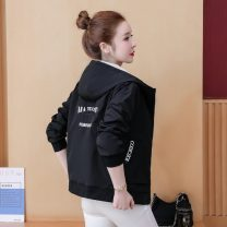 short coat Spring 2021 S. M, l, XL, quantity finite element method Apricot (with lining), black (with lining), pink (with lining) Long sleeves routine routine singleton  Self cultivation Versatile routine Hood zipper letter 18-24 years old 81% (inclusive) - 90% (inclusive) Embroidery polyester fiber