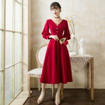 Dress / evening wear wedding M,XL,S,L Red, black grace longuette middle-waisted Autumn 2020 other Deep collar V zipper Rayon Nine point sleeve Solid color other 81% (inclusive) - 90% (inclusive)