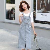 Dress Summer 2021 Denim blue S,M,L,XL Middle-skirt singleton  Sleeveless middle-waisted Solid color Socket straps