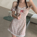 shirt puff sleeve Bows, prints, lace Mori polyester fiber 81% (inclusive) - 90% (inclusive) Summer 2021 Short sleeve Sweet Medium and long term Straight collar blending Broken flower zipper 18-24 years old Self cultivation Other / other S,M,L Floral skirt
