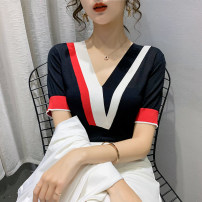 Wool knitwear Spring 2021 S M L XL Black and white Short sleeve singleton  Socket other More than 95% Regular routine commute Self cultivation V-neck routine Color matching Socket Korean version PMMR2103112 25-29 years old Bubble beauty Splicing Other 100% Pure e-commerce (online only)