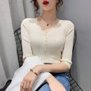 Wool knitwear Spring 2021 S M L XL BEIGE BLACK elbow sleeve singleton  Socket other More than 95% Regular routine commute Self cultivation V-neck routine Solid color Socket Korean version PMMR2103105 25-29 years old Bubble beauty Button Other 100% Pure e-commerce (online only)