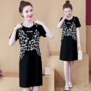 Dress Summer 2021 black M L XL 2XL 3XL 4XL Middle-skirt Fake two pieces Short sleeve commute Crew neck Loose waist Decor Socket A-line skirt routine Others 25-29 years old Type A Yunmi Flower Fairy Korean version Splicing 632S More than 95% other polyester fiber 100.00% polyester
