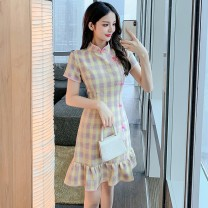 Dress Summer 2021 Picture color S M L XL Middle-skirt singleton  Short sleeve commute stand collar High waist lattice zipper Ruffle Skirt routine camisole 25-29 years old Type A Yunmi Flower Fairy Korean version Lotus leaf edge 3609S More than 95% other polyester fiber 100.00% polyester