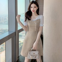 Dress Summer 2021 Blue and yellow S M L XL Middle-skirt singleton  Short sleeve commute Crew neck middle-waisted lattice Socket A-line skirt routine Others 25-29 years old Type A Yunmi Flower Fairy Korean version Splicing 3577S More than 95% other polyester fiber 100.00% polyester
