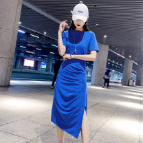 Dress Summer of 2019 Blue black hot silver black M L XL S Mid length dress singleton  Short sleeve commute Crew neck Loose waist Solid color Socket One pace skirt routine Others 25-29 years old Type H Budoshin Korean version fold More than 95% cotton Cotton 95% polyurethane elastic fiber (spandex) 5%