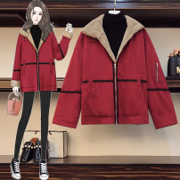 Women's large Winter 2020 Red pink XL 2XL 3XL Jacket / jacket singleton  commute easy thickening Cardigan Long sleeves Solid color Korean version routine other Three dimensional cutting YLLP30694 Magic shield 25-29 years old zipper Other 100% Pure e-commerce (online only)