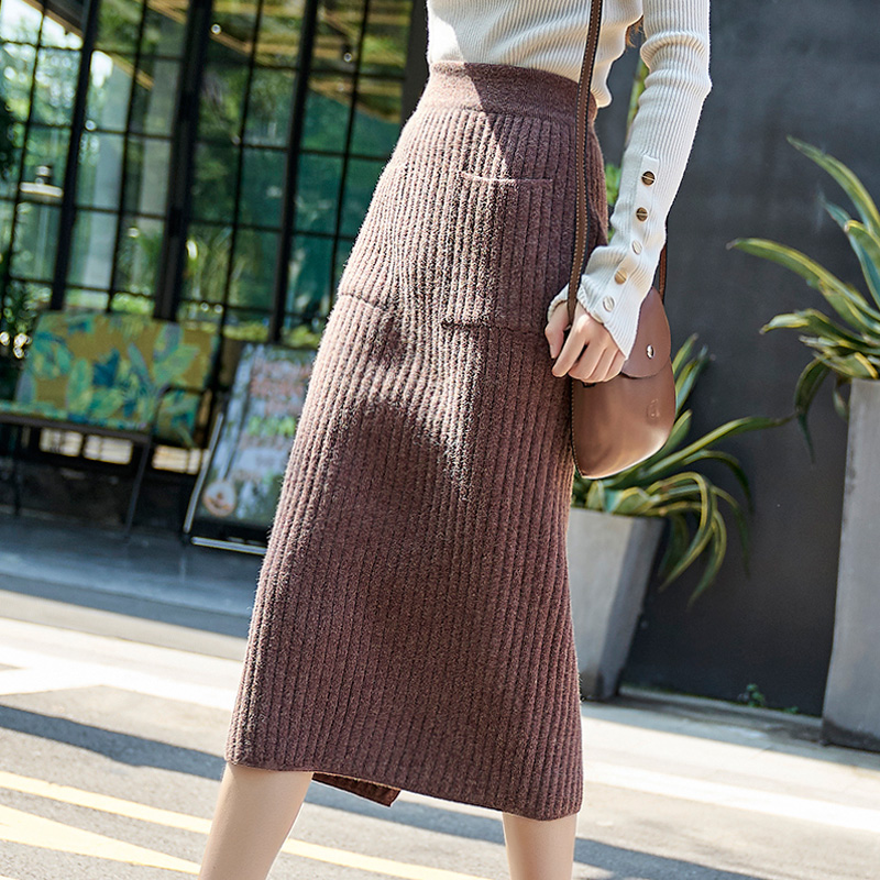 skirt Autumn of 2018 SML Light coffee black grey Beixing Mid length dress commute High waist skirt Solid color Type H 25-29 years old MJN180813ZB2 knitting Majeno Split pocket thread Retro Other 100%