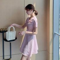 Dress Summer 2020 Pink yellow S M L XL XXL Short skirt singleton  Short sleeve commute Crew neck High waist lattice Socket A-line skirt 25-29 years old Neusier Frenulum L1414RX 71% (inclusive) - 80% (inclusive) polyester fiber Polyester 73% cotton 21.3% viscose 5.7%