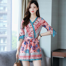 Casual pants Blue Pink M L XL 2XL Summer 2021 shorts Jumpsuit Natural waist commute Thin money MSF995428KZ Mansfanshen other Korean version pocket Other 100% Same model in shopping mall (sold online and offline) Asymmetry