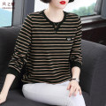 T-shirt Khaki stripe M L XL 2XL 3XL 4XL Spring 2021 Long sleeves Crew neck easy Regular routine commute cotton 31% (inclusive) - 50% (inclusive) 40-49 years old Korean version originality Thin horizontal stripe Butterfly of the wind F0438 Exclusive payment of tmall