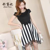 Dress Summer of 2019 black S M L XL XXL Short skirt singleton  commute Others 25-29 years old Caidaifei Korean version L808RX More than 95% polyester fiber Polyester fiber 94.9% polyurethane elastic fiber (spandex) 5.1%