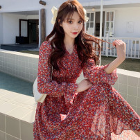 Dress Spring 2021 gules M,L,XL,2XL longuette singleton  Long sleeves commute V-neck High waist Broken flowers Socket A-line skirt pagoda sleeve 18-24 years old Type A Korean version printing Chiffon polyester fiber