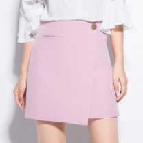 skirt Spring 2017 XS S M L XL XXL XXXL Red black blue pink green Caramel Short skirt Versatile High waist A-line skirt Solid color Type A 25-29 years old SY-Q170304 91% (inclusive) - 95% (inclusive) S. Y. Xianzi / Suyu Fairy polyester fiber Buttons and zippers with open line decoration