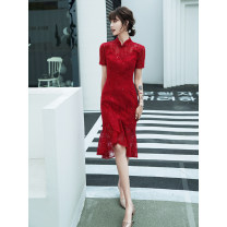 cheongsam Summer 2020 S M L XL XXL XXXL claret Short sleeve Short cheongsam grace No slits daily Solid color 18-25 years old JB20060 Jiaostep other Other 100%