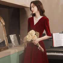 Dress / evening wear Weddings, adulthood parties, company annual meetings, daily appointments S M L XL XXL claret Korean version Middle-skirt middle-waisted Summer 2021 Self cultivation Deep collar V zipper 18-25 years old JB211406 elbow sleeve Nail bead Solid color Jiaostep routine Other 100% other