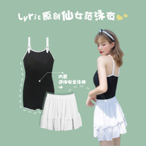 one piece  lyric M L XL 2XL black Skirt one piece With chest pad without steel support Spandex polyester Spring 2021 female Sleeveless Casual swimsuit