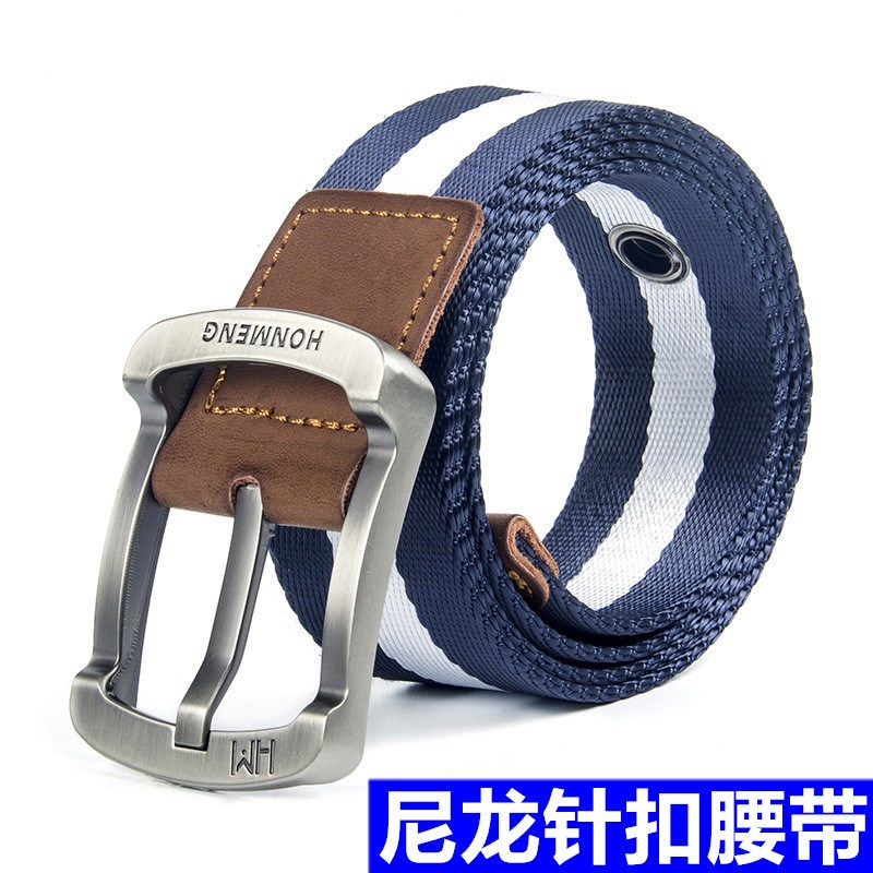Belt / belt / chain canvas Wolf brown blue background white stripe blue background card stripe black background card stripe coffee Red Stripe Black army green royal blue male belt Versatile Single loop Middle aged youth Pin buckle letter soft surface 3.8cm alloy Bare weave letters 105cm 115cm
