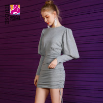 Dress Spring 2021 grey Average size Short skirt singleton  Long sleeves street Crew neck High waist Solid color Socket One pace skirt bishop sleeve Others 18-24 years old Type H Confused color Pleating 10044Q More than 95% polyester fiber Polyester 95.2% polyurethane elastic fiber (spandex) 4.8%