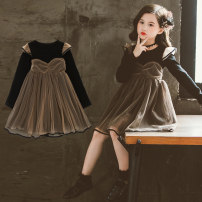 Dress Picture color female Taylor Other 100% spring and autumn princess Long sleeves Solid color other A-line skirt Autumn 2020 2 years old, 3 years old, 4 years old, 5 years old, 6 years old, 7 years old, 8 years old, 9 years old, 10 years old, 12 years old, 13 years old, 14 years old
