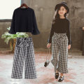 suit Taylor black 110cm 120cm 130cm 140cm 150cm 160cm female spring and autumn Korean version Long sleeve + pants 2 pieces routine There are models in the real shooting Socket nothing lattice other children birthday HS-gezikutaozhaung-T Autumn of 2019 Chinese Mainland