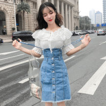 Dress Spring 2021 White Chiffon shirt light blue denim skirt chiffon shirt + denim skirt S M L XL 2XL Middle-skirt Two piece set Short sleeve commute Crew neck High waist Solid color Socket A-line skirt routine straps 18-24 years old Type A Yiqing Dai Korean version Button More than 95% Denim other