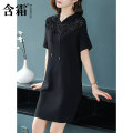 Dress Spring of 2019 black S M L XL XXL XXXL Mid length dress singleton  elbow sleeve commute Hood Loose waist Solid color Single row two buttons A-line skirt routine Others 25-29 years old Type A Frosty Korean version Lace up gauze 31% (inclusive) - 50% (inclusive) knitting polyester fiber