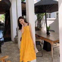 Dress Summer 2020 Yellow red S M L Mid length dress singleton  Sleeveless Sweet High waist Solid color Princess Dress camisole 25-29 years old Type H Wei Baoer zipper 9817 yellow suspender skirt More than 95% other Other 100% Bohemia Pure e-commerce (online only)