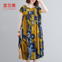 Women's large Summer 2020 yellow Big size average Dress singleton  commute easy Socket literature routine YLM19XT01011650 Yilanmei Medium length Other 100% Pure e-commerce (online only)