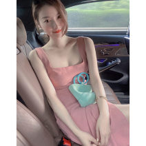 Dress Summer 2021 Pink dress S M L XL Mid length dress singleton  Sleeveless commute square neck High waist Solid color Socket A-line skirt other Others 18-24 years old Type A Century girl Korean version More than 95% other Other 100% Pure e-commerce (online only)