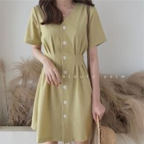 Dress Summer 2021 Avocado Green Dress Pink Dress apricot dress blue dress S M L XL Short skirt singleton  Short sleeve commute V-neck High waist Solid color Socket A-line skirt routine Others 18-24 years old Type A Century girl Korean version More than 95% other Other 100%