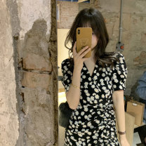 Dress Spring 2021 Black dress S M L XL Middle-skirt singleton  Short sleeve commute V-neck High waist Decor Socket A-line skirt routine Others 18-24 years old Type A Century girl Korean version printing More than 95% other Other 100% Pure e-commerce (online only)