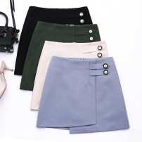 skirt Spring of 2019 S M L XL Beige greyish blue black greyish green Short skirt commute High waist A-line skirt Solid color 18-24 years old MK5000 More than 95% MC mecover / micafur polyester fiber Ol style Polyester 96% viscose 4% Pure e-commerce (online only)