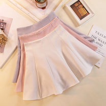 skirt Spring 2020 S M L XL Black white pink grey Short skirt Versatile High waist Pleated skirt Solid color Type A 18-24 years old 91% (inclusive) - 95% (inclusive) other MC mecover / micafur polyester fiber Fold splicing Polyester fiber 94.5% polyurethane elastic fiber (spandex) 5.5%